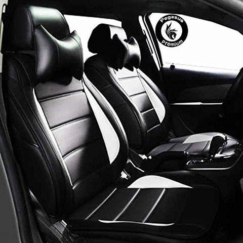 PegasusPremium Pu Leather Car Seat Cover Black White For Tata Nexon-PegasusPremium-Helmetdon