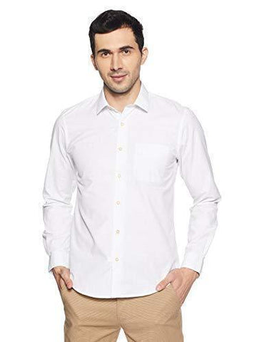 Peter England Men's Plain Slim Fit Formal Shirt-Apparel-Peter England-Helmetdon