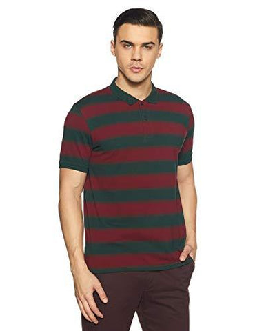 Peter England Men's Striped Regular Fit Polo-Apparel-Peter England-Helmetdon