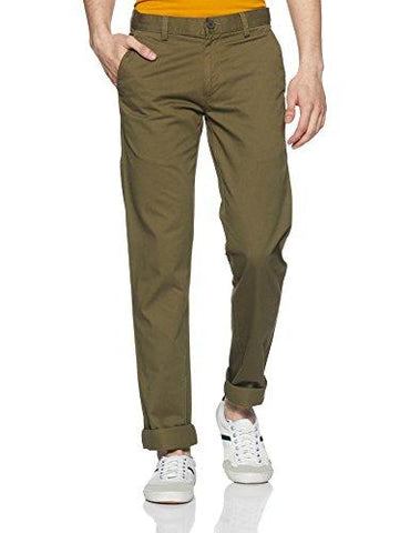 Peter England Men's Super Slim Casual Trousers (PCTFCSSP395003_Olive_32W x 33L)-Apparel-Peter England-Helmetdon
