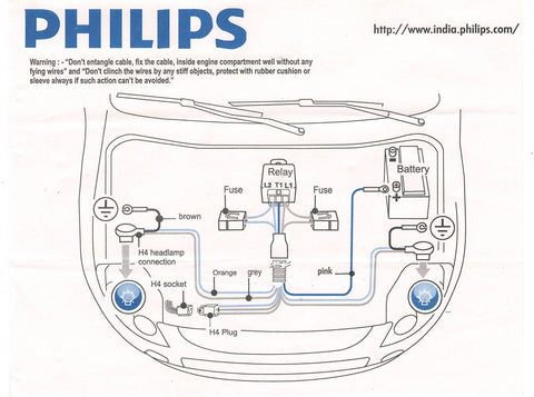 Philips 12003XM H4 Heavy Duty head lamp Relay Wiring Kit ... on