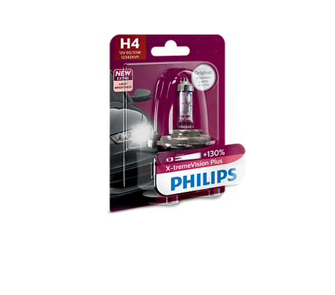 Philips 12342XVPB1 H4 X-treme Vision Plus Car Headlight Bulb (12V, 60/55W)-Bulbs-Philips-Helmetdon