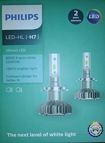 PHILIPS H7 LED Ultinon 6000K (Set of 2)-Bulbs-Philips-Helmetdon