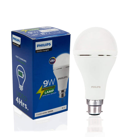 Philips Inverter Bulb 9 Watt Rechargeable Emergency LED Bulb for Home, Cool Daylight, Base B22-Lighting-Philips-Helmetdon