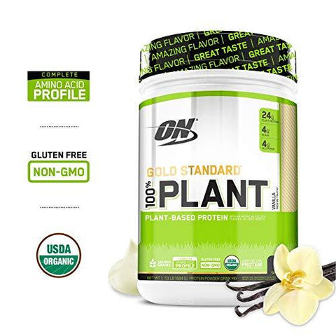 Plant, Plant Vanilla: Optimum Nutrition Gold Standard 100% Organic Plant Based Vegan Protein Powder, Vanilla, 1.51 Pound-Health and Beauty-Optimum Nutrition-Helmetdon