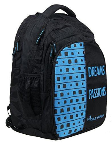 "POLE STAR ""BIG-4"" Polyester 40L Black and Sky Blue Backpack-Luggage-POLE STAR-Helmetdon"