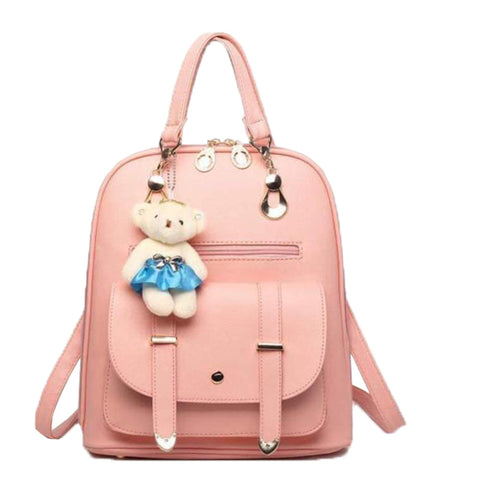 Premium 2018 New Women Leather Backpacks Students School bags for Girls Teenagers Travel Rucksack Black Color Small Shoulder Bag (peach)-Luggage-Alice-Helmetdon