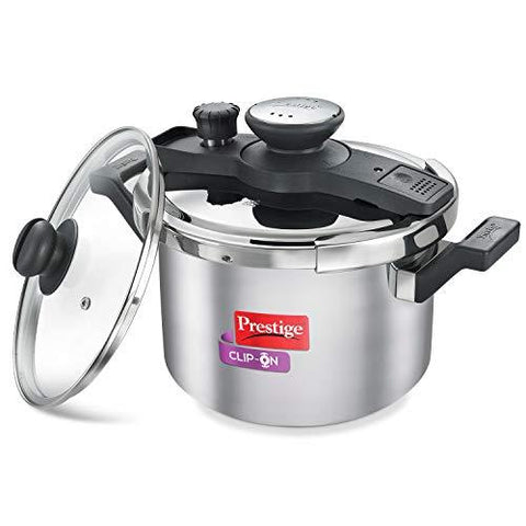 Prestige Clip On Stainless Steel Pressure Cooker with Glass Lid (5 litres, Set of 2, Metallic Silver)-Kitchen-Prestige-Helmetdon