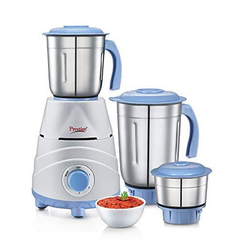 Prestige Tez (550 Watt) Mixer Grinder with 3 Stainless Steel Jars, White and Blue-Kitchen-Prestige-Helmetdon