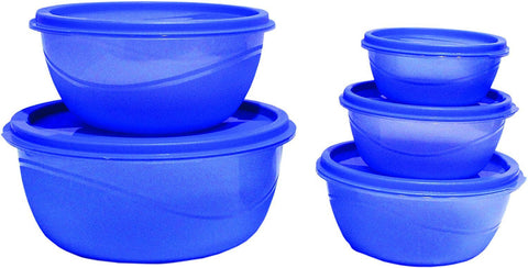 Princeware Store Fresh Plastic Bowl Package Container, Set of 5, Blue-Home & Kitchen-Priceware-Helmetdon