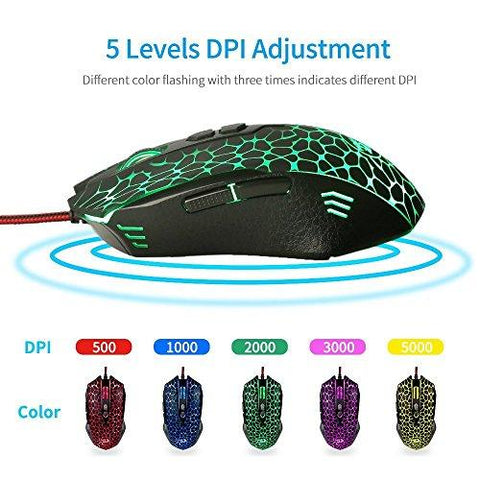 Redragon M716 INQUISITOR RGB FPS Gaming Mouse, 10,000 DPI Optical Sensor  Ergonomic Wired Backlit Gaming Mice, 7 Programable Buttons, Comfortable  Hand