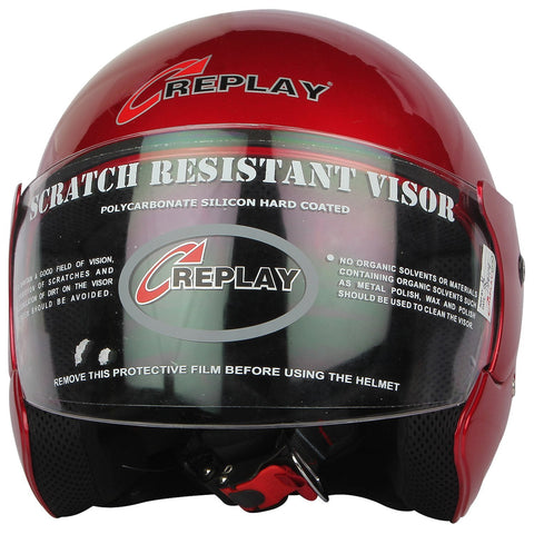 Replay Essex Hit Plain Open Face Helmet with Clear Visor-Helmets-Replay-M-Cherry Red-Helmetdon