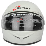Replay Full Face Helmet Leo Plain with Clear Visor-Helmets-Replay-M-White-Helmetdon