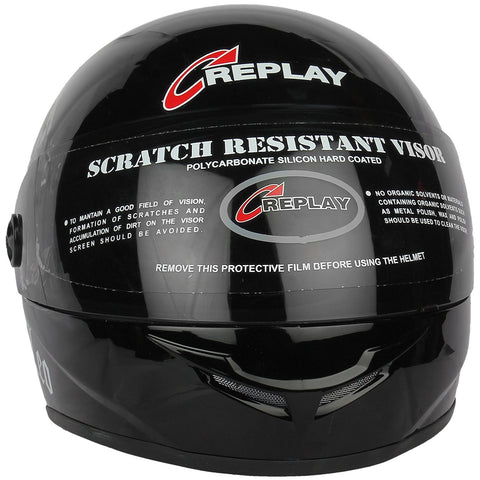 Replay Leo Plain Full Face Helmet with Smoke Visor - Black, Red and Blue Colours-Helmets-Replay-M-Black-Helmetdon