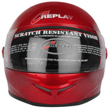 Replay Leo Plain Full Face Helmet with Smoke Visor - Black, Red and Blue Colours-Helmets-Replay-M-Cherry red-Helmetdon