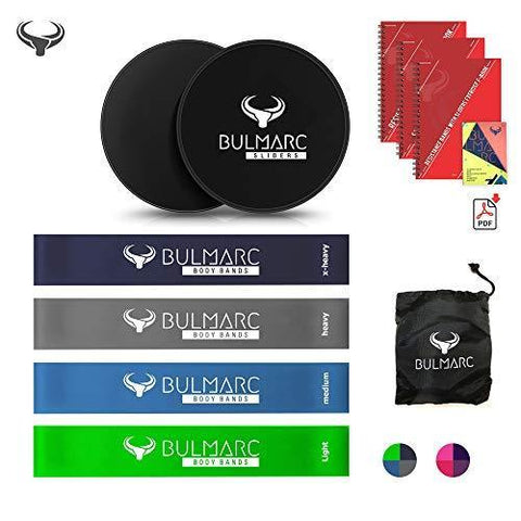 Resistance Bands and Core Sliding Discs with 70➕ Exercise Guide ( PDF Download Ebook ➕ Printed Manual by Miami & Brazil CrossFit Trainers) | ➕ Carry Bag | ☑ for heavy medium and light Exercises| Gliding Discs by BULMARC™-Sports-BULMARC-Helmetdon
