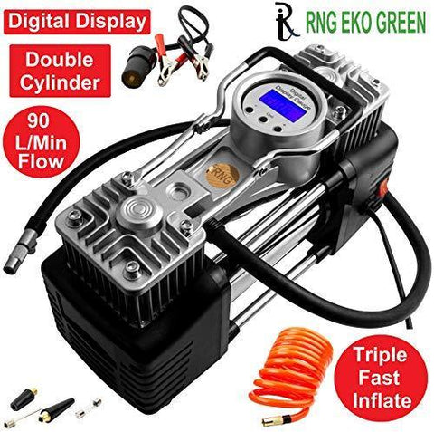 RNG EKO GREEN - Digital Triple High Speed Double Cylinder Nuclear Car Air Compressor- Black (100% Copper Winding, 12V/220W/160PSI, Triple Fast inflate 90L/min, Low Noise 85 db)-Automotive Parts and Accessories-RNG EKO GREEN-Helmetdon