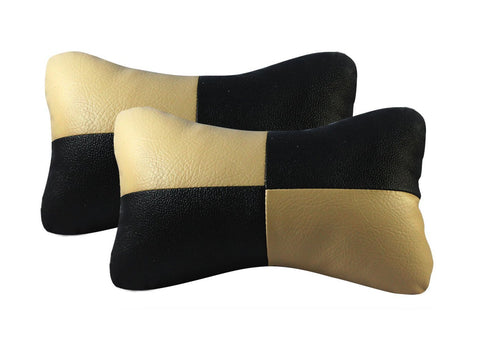 Seat Neck Cushions for Cars (Black and Beige, Set of 2) by Kardzine-car accessories-Aditya-Helmetdon