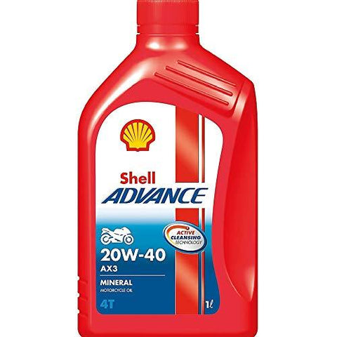 SHELL Advance AX3 20W40 SG/MA 4STROKE Engine Oil 1LTR-Automotive Parts and Accessories-Shell-Helmetdon