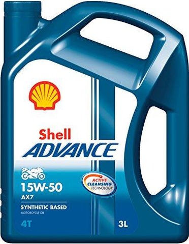 Shell Advance AX7 15W-50 API SM Semi Synthetic Engine Oil (3 L)-Automotive Parts and Accessories-Shell-Helmetdon