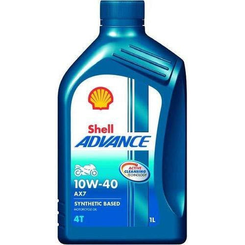 SHELL Advance AX7 Synthetic 10W40 4 Stroke Engine Oil 1000ML-Automotive Parts and Accessories-Shell-Helmetdon