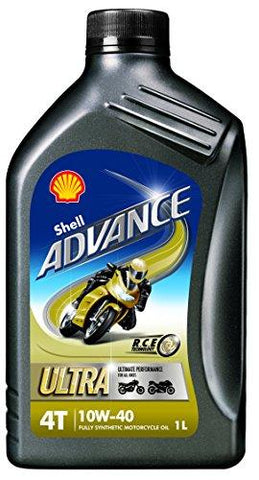 Shell Advance Ultra 550045008 10W-40 API SM Fully Synthetic Motorbike Engine Oil (1 L)-Automotive Parts and Accessories-Shell-Helmetdon