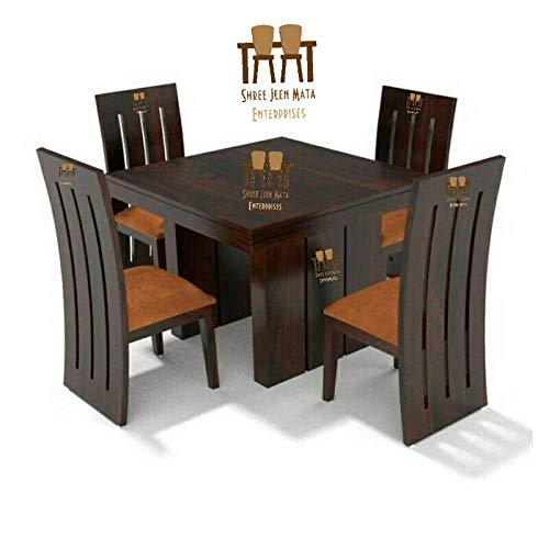 Shree Jeen Mata Enterprises Sheesham Wooden Dining Table Set With 4 Seater Leatherette Chairs Teak Wood Balcony Table Chair Set Standard