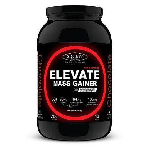 Sinew Nutrition Elevate Mass Gainer with Digestive Enzymes, 1 Kg (Chocolate Flavour)-Health and Beauty-Sinew Nutrition-Helmetdon