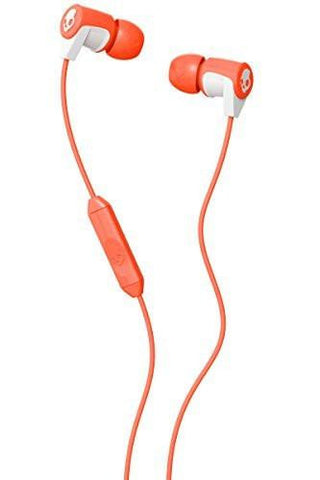 Skullcandy SCS2RFGY-436 In-Ear Wired Headphones (Coral/White)-Electronics-Skullcandy-Helmetdon