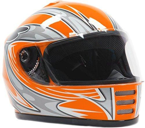 Small : Youth Full Face Helmet Orange ( Small )-Automotive Parts and Accessories-Typhoon Helmets-Helmetdon