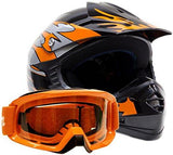 Small : Youth Off Road Helmet & Goggles Gear Combo - Orange (Small)-Automotive Parts and Accessories-Typhoon Helmets-Helmetdon