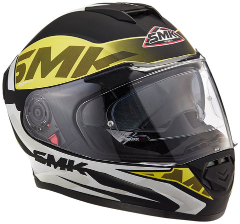 SMK MA241 Twister Logo Graphics Pinlock Fitted Full Face Helmet With Clear Visor (Matt Black, Fluorescent Yellow and White, S)-Helmets-SMK-S-Helmetdon