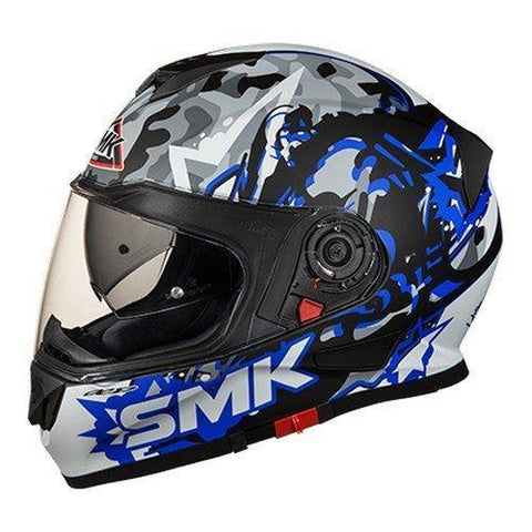 SMK MA256 Twister Attack Graphics Pinlock Fitted Full Face Helmet With Clear Visor (Matt Black, Blue and Grey, XS)-Helmets-SMK-L-Helmetdon