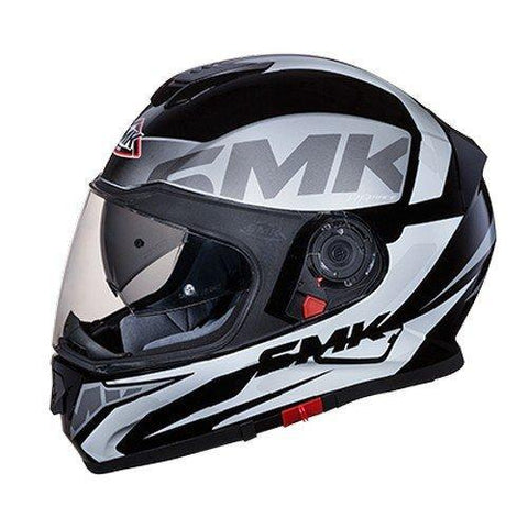 SMK MA261 Twister Logo Graphics Pinlock Fitted Full Face Helmet With Clear Visor (Matt Black, Grey and White, XL)-Helmets-SMK-L-Helmetdon