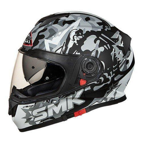 SMK MA266 Twister Attack Graphics Pinlock Fitted Full Face Helmet with Clear Visor (Matt Black with Grey, L)-Helmets-SMK-L-Helmetdon