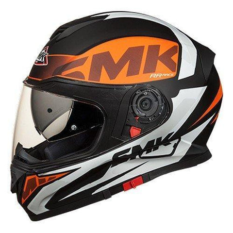 SMK MA271 Twister Logo Graphics Pinlock Fitted Full Face Helmet with Clear Visor (Matt Black, Orange and White, M, L)-Helmets-SMK-L-Helmetdon