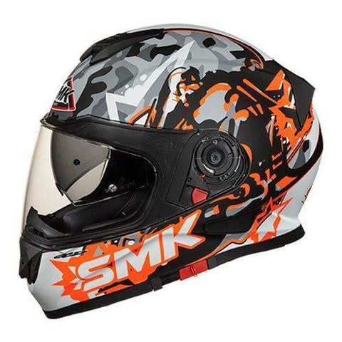 SMK MA276 Twister Attack Graphics Pinlock Fitted Full Face Helmet with Clear Visor (Matt Black, Orange and Grey, XS)-Helmets-SMK-XS-Helmetdon