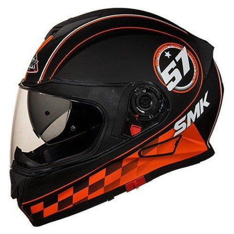 SMK MA276 Twister Blade Graphics Pinlock Fitted Full Face Helmet With Clear Visor (Matt Black, Orange and Grey, S)-Helmets-SMK-S-Helmetdon