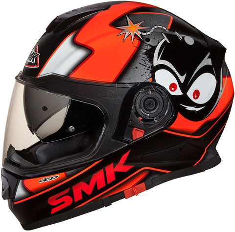 SMK Twister Designer Full Face Helmet with Cartoon Graphic-Helmets-SMK-L-Mat Black Orange-Helmetdon
