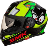 SMK Twister Designer Full Face Helmet with Cartoon Graphic-Helmets-SMK-M-Mat Black Green-Helmetdon