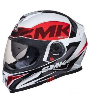 SMK Twister Designer Full Face Helmet with Logo Graphics (GL132), White with Black and Red-Helmets-SMK-L-Helmetdon