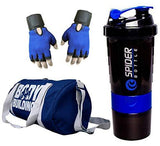Snipper Combo of Leather Bodybuilding Blue Bag Gloves and Spider Shaker Purple Gym and Fitness Kit-Luggage-Snipper-Helmetdon