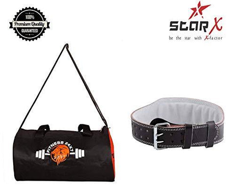 StarX Fitness Combo of Gym Bag with Weight Lifting Gym Belt (Orange Black, Large)-Sports-StarX-Helmetdon
