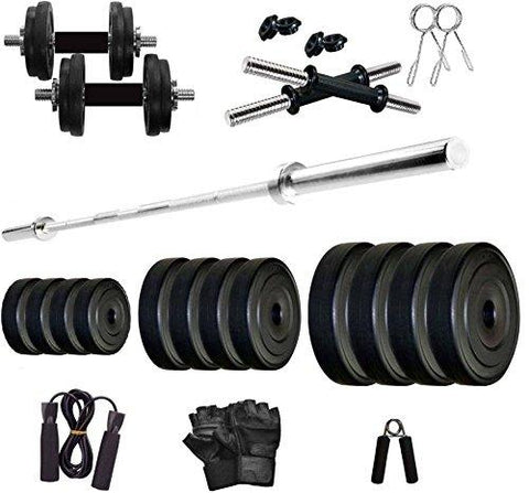 StarX Home Gym Exercise Set of 50KG PVC Weights with 2 Dumbbell Rods, 5Ft Straight Rod and Accessories (50)-Sports-StarX-Helmetdon