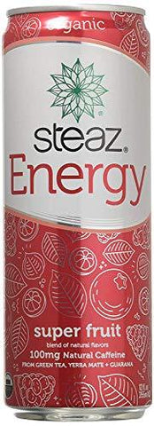 Steaz Organic Energy Drink, Superfruit, 12 Ounce (Pack of 24)-Beauty-Steaz-Helmetdon