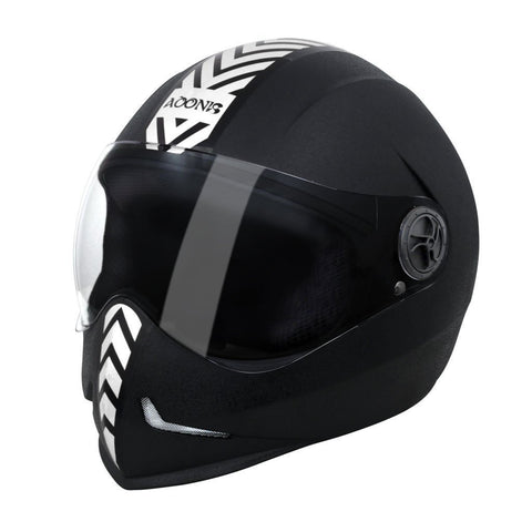 Steelbird Adonis Dashing Full Face Helmet-Helmets-Steelbird-M (56 to 58 cm)-Black with silver sticker-Helmetdon