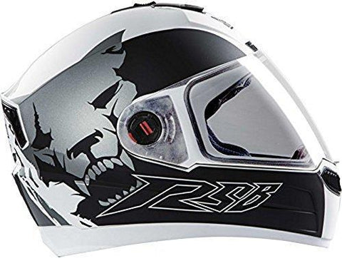 Steelbird Air Beast Helmet with Plain Visor (Glossy White and Grey, L)-Helmets-Steelbird-L-Helmetdon