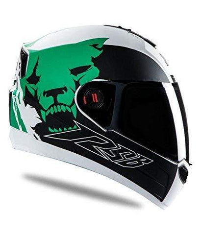 Steelbird Air- Beast Matt Finish with Smoke Visor (Medium 580MM, Matt White with Green)-Automotive Parts and Accessories-Steelbird-Helmetdon