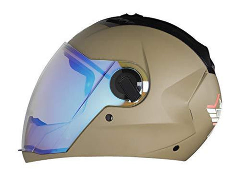 Steelbird Exclusive SBA-2 7WINGS Full Face Helmet in Matt Finish with Dual Action Night Vision Blue Visor (Large 600 MM, Matt Desert Storm)-Automotive Parts and Accessories-Steelbird-Helmetdon