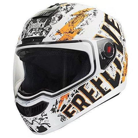 Steelbird Helmet SBA-1 Free Live with Smoke Visor and Matt Finish (Medium 580MM, White with Orange)-Steelbird-Helmetdon